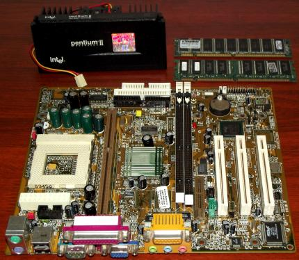 Biostar M6TWG Mainboard Sockel 370 & Slot-1, Intel Pentium II 350MHz CPU, 256MB SDRAM, Intel 810 on-Board Grafik & Aureal AU8810 Sound, Award Bios 1999