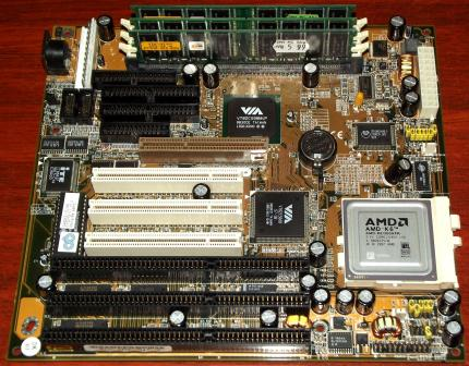 Chaintech 5AGM2-D150 mit AMD-K6 300MHz CPU, 384MB SDRAM, VIA Apollo MVP3, Super Socket7, Award Bios 1998