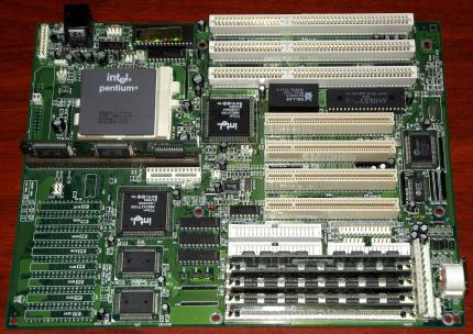 Elitegroup (ECS) TR5510 AIO REV 1.1b mit Intel Pentium 75MHz (SX969) CPU, 64MB EDO-RAM, i440FX, 256kb Coast-Modul, Award Bios 1995