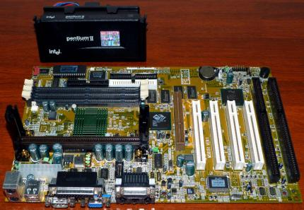MSI MS6151 Ver. 1.0 Mainboard, ATI Rage Pro Turbo AGP 3D on-Board Grafik, Creative ES1371 on-Board Sound AGP & USB, Intel Pentium II 350MHz CPU sSpec: SL2U3, Cooler Master Lüfter, Award Bios 1998