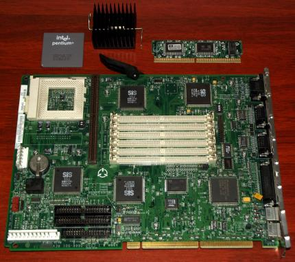 HP Vectra 5/100 Mainboard, Intel Pentium 100MHz CPU, VGA on-Board, SIS 6205, SIS 5511, Cache-Modul Hewlett-Packard, 1996
