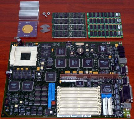 digital 54-24631-01 Mainboard, 21064-BB A233 KKB E45L Alpha AXP 233MHz CPU 21-40532-03, RISC Socket 431, 4x DEC 5023169-01-A1P1 & 4x 7A76992 RAM, Analog Devices SoundPort AD1845JP, on-Board NIC, Intel PCIset S82378ZB, Super I/O, 5024630-01-B01 Digital Equipment Corp. 1995