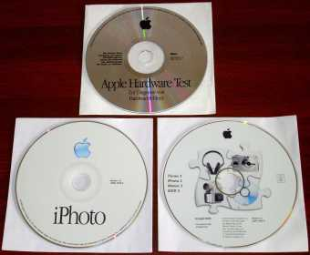 Apple iPhoto Ver. 1.0 CD & iTunes 3, iPhoto 2, iMovie 3, iDVD 3 SuperDrive DVD, & iMac Hardware Test Ver. 1.2 CD, 2002