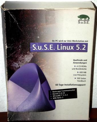 SuSE Linux 5.2 - Kernel 2.0.33, XFree 3.3.2, KDE Beta3, 500S. Handbuch, 4CDs, 1998