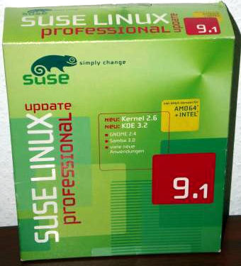 SuSE Linux 9.1 Professional Update, Kernel 2.6.3, KDE 3.2, Gnome 2.4, 620S. Handbuch, 2004